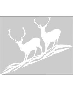Rafco Autokleber Hirsch 2 Tiere weiss-durchsichtig